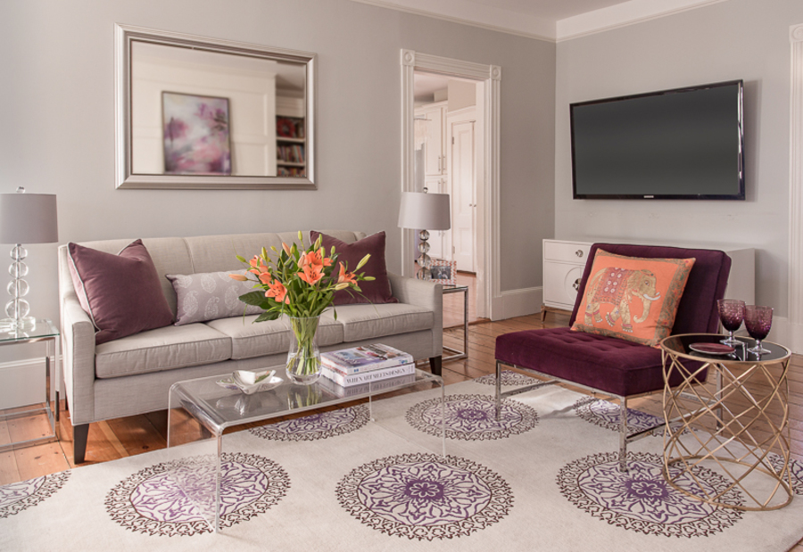 Living Room in Purple and Greys with a Splash of Orange