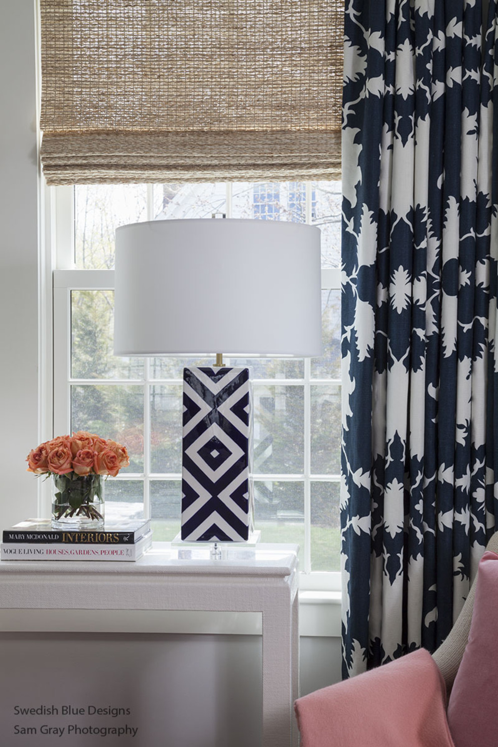 Family Room - Linen Wrap Console and Window Treatments