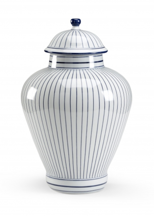 Blue Pin Striped Jar