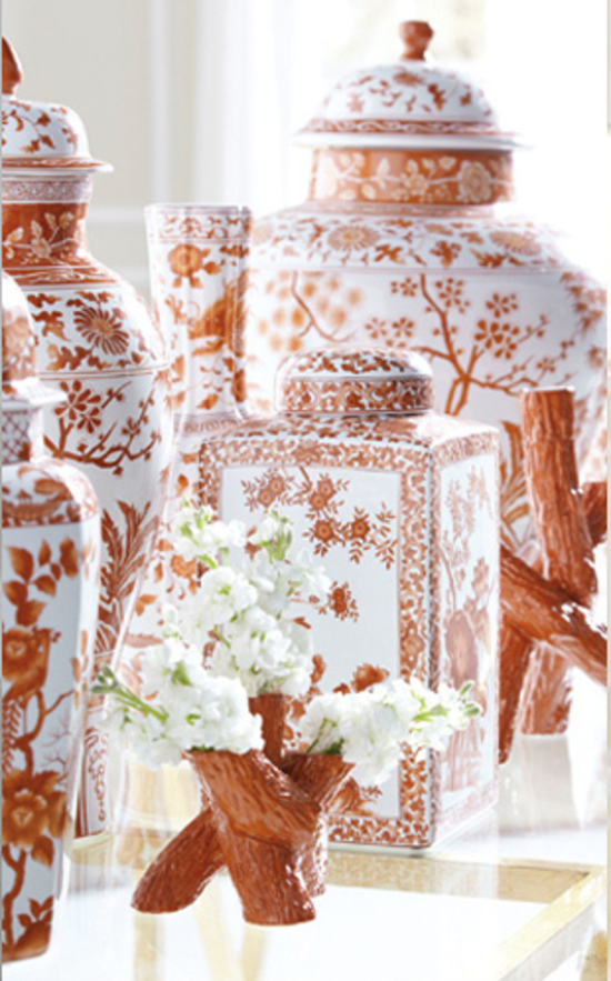 A Selection of Orange Vases