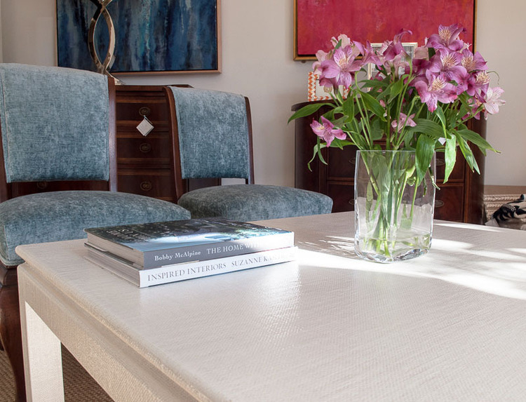 Linen Wrapped Coffee Table Closeup