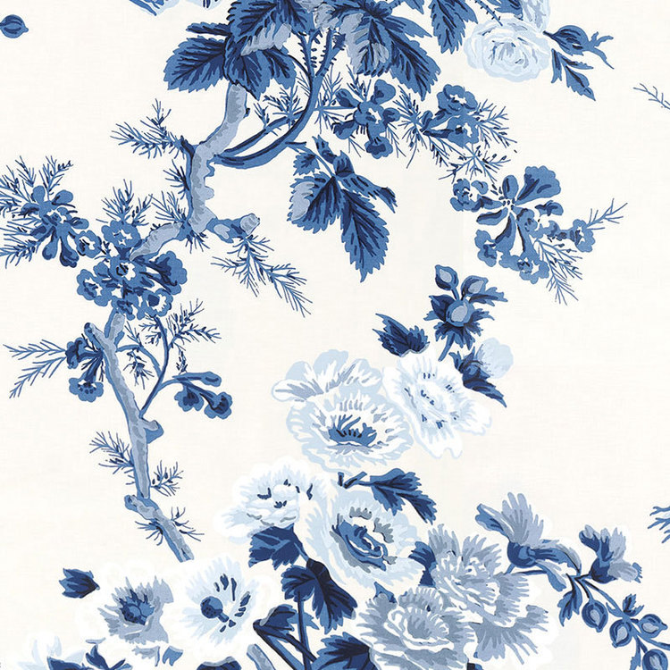 Floral Blues on White