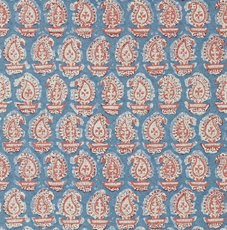 Paisley Red on Blue
